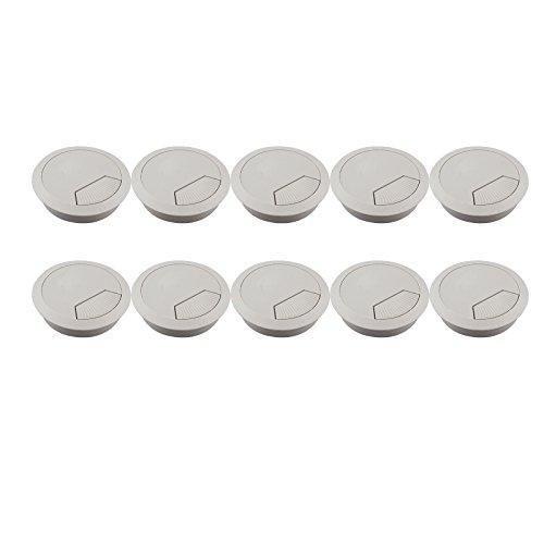 10 Stück rund Schreibtisch Tülle für PC Computer Schreibtisch Kunststoff Loch Oberfläche Kabel Häfen, grau