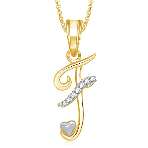 Meenaz 'F' Letter Pendant Locket Gold Plated Alphabet Heart For Men And Women With Chain PS331