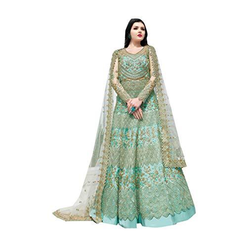 Sky Blue Indische muslimische Braut pakistanische Bollywood Anarkali Salwar Kameez bereit, Designer Boden Touch Net schwere Stickerei 7942 zu tragen Super Net Saree