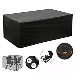 gartenm bel abdeckhaube f r tisch st hle sitzgarnituren schwarz wasserdicht cover 210x110x70cm. Black Bedroom Furniture Sets. Home Design Ideas