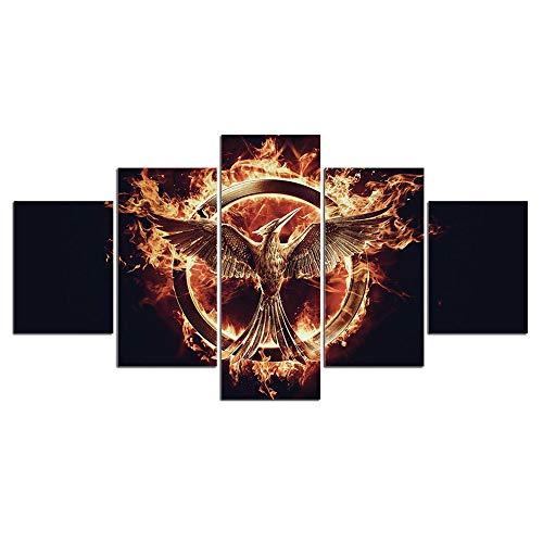Agreey Drucke Leinwandbilder Moderne Wandkunst 5 Stücke The Hunger Games Gemälde Poster für Schlafzimmer Wohnkultur Rahmen, Mit Rahmen, 40X60 40X80 40X100 cm (Hunger Games Dekorationen)