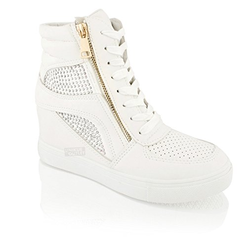 Womens Ladies Hidden Wedge Heel Platform Sneakers Lace up Trainers Ankle Boots (5, White)