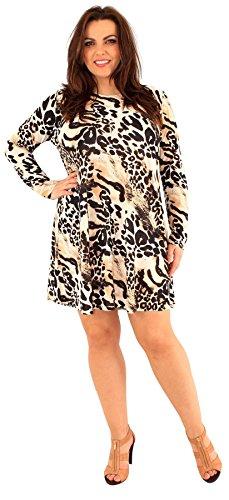 Chocolate Pickle ® Neue Damen Plus Größe Tier Floral Printed Long Sleeve  SwingKleid AnimalBrown