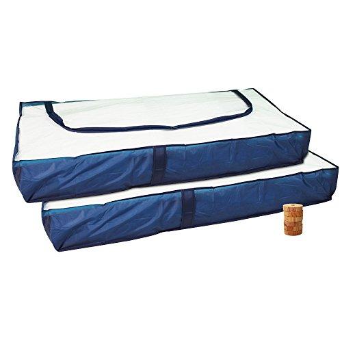 COM-FOUR® 2x Unterbettkommode blau mit Reißverschluss und Haltegriffen 103 x 45 x16 cm (2 Stück mit Mottenstop)