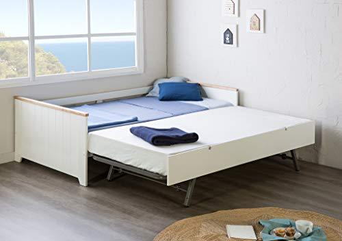 Preisvergleich Produktbild ambiato Tagesbett Madi Kinderbett + Gästebett Kojenbett Landhaus Weiß + Pinie massiv Ausziehbett