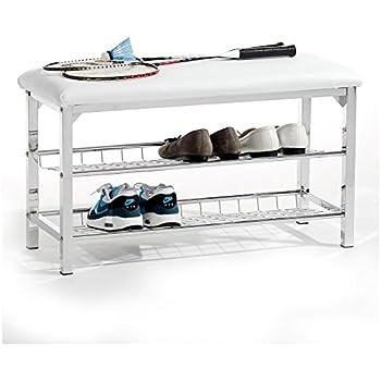 schuhregal mit sitzbank bank 60cm schuhschrank aus metall schuhablage schuhbank amazon. Black Bedroom Furniture Sets. Home Design Ideas