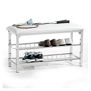 idimex meuble chaussures ina banc avec assise et 2 tag res rangement pour 8 paires en m tal. Black Bedroom Furniture Sets. Home Design Ideas
