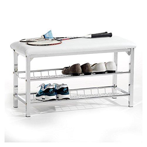Sitzbank Schuhbank Garderobenbank INA, mit 2 Schuhregalfächern, Sitzfläche gepolstert, Bezug Kunstleder weiß