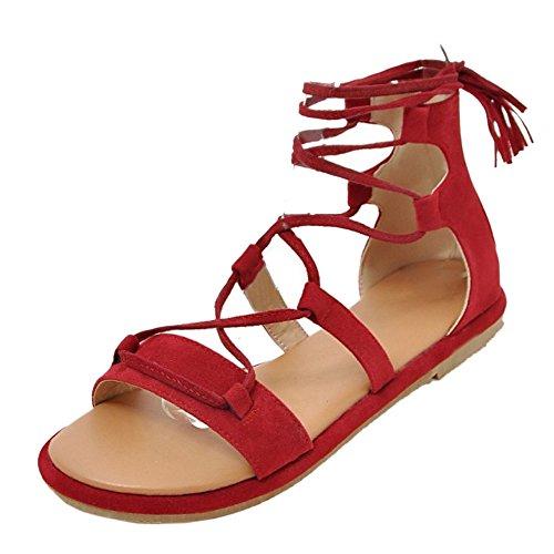 RizaBina Classique Lacets Plates Plage Gladiateur Ete Sandales Rouge