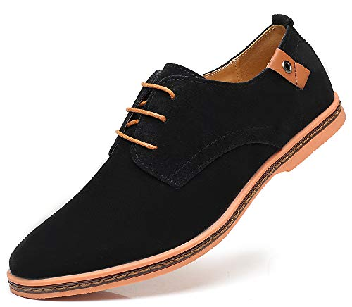 CAGAYA Herren Freizeit Schuhe aus Leder Business Anzugschuhe Atmungsaktiv Lederschuhe Oxford Halbschuhe Party Hochzeit übergrößen 38-46 (47 EU, Schwarz-077) (Wildleder Herren Schuhe Oxford Schwarz)