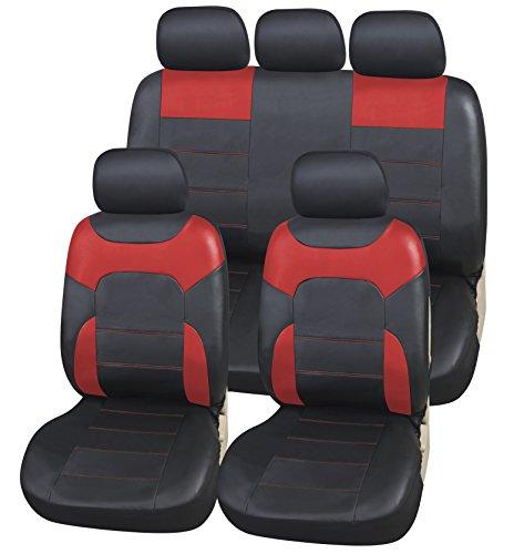 Coprisedili Ecopelle per Auto Universali Nero & Rosso | Foderine Sedili Simil-pelle per Anteriori e Posteriori | Copri-Sedile Universale | Accessori Automobile Interni | Set Completo di 9