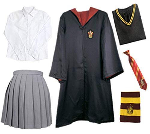 Fanessy. Kinder Erwachsene Umhang Kostüm Für Harry Potter,Fancy Dress Cosplay Outfit Set Zauberstab Krawatte Schal Brille Hut Hemd Rock Karneval Verkleidung Fasching Halloween - Hermine Kostüm
