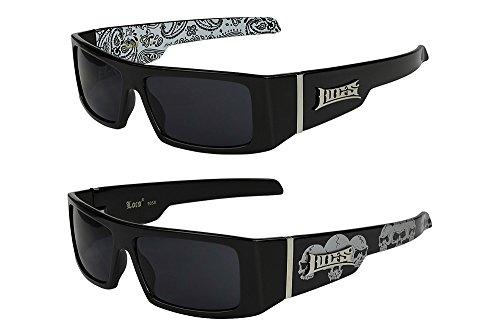 2er Pack Locs 9058 X11 Sonnenbrillen Herren Damen Brille - 1x Modell 05 (schwarz glänzend - Bandana-Design weiß / schwarz getönt) und 1x Modell 07 (schwarz glänzend - Skull-Design / schwarz getönt)