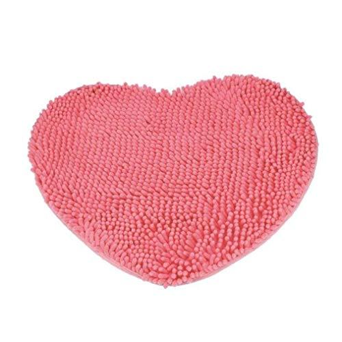 Herz Badteppich Teppich Soft Shag Küche Teppich Tür Way Füße Matte Anti-Rutsch Streifen saugfähig Fußmatte Badezimmer Dusche Teppiche Shaggy Teppich, rosarot, 60 * 70CM - Chenille Streifen-teppich