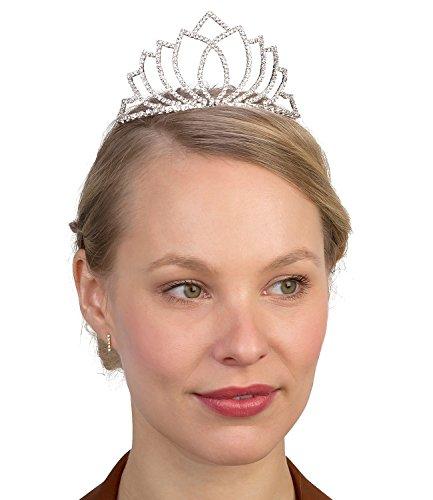 SIX Eleganter Haarschmuck: Krone für Hochzeit/Kommunion/Prinzessin, Karneval, weiße Strasssteine, Diadem für JGA, fester Halt, silberfarben (352-246)