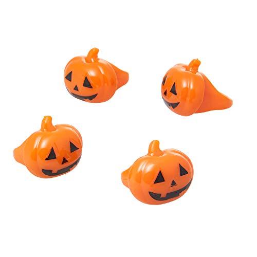 UltraByEasyPeasyStore Packungen von 2 Stück Blinkende Orange Kürbis Led Jelly Style Ringe Erwachsene Kinder Partys für Kostüme Raves Finger Leuchtend