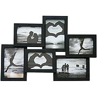 Cornice portafoto per composizioni fotografiche, colore nero, per 6 fotografie