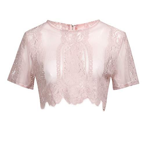 TWIFER Transparent T Shirt Damen Sommer Kurzarm Sheer Zip Up Mesh Blumenspitze Crop Top ()