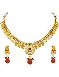 JFL - Traditional Ethnic One Gram Gold Plated Stone Designer Necklace Set With Earring For Women And Girls.