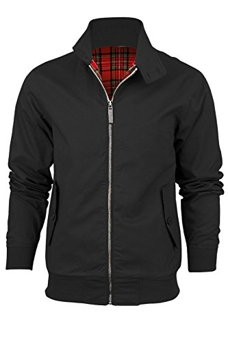 Catch One Neu Herren Langärmelig Harringtonjacke Vintage Look Bomber Retro Mantel Schwarz