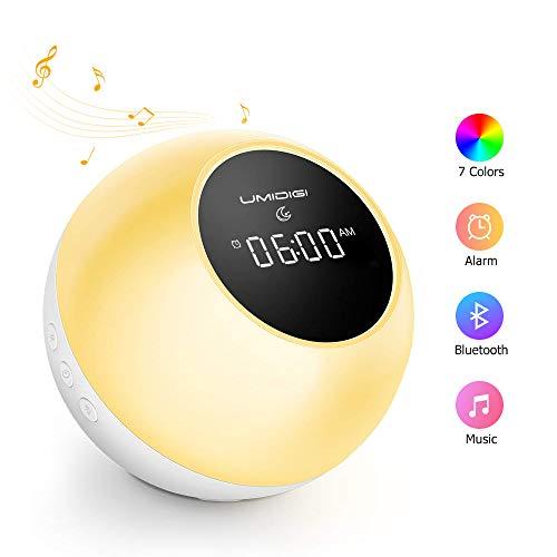 Wake Up Lichtwecker mit Bluetooth Lautsprecher, UMIDIGI Uwake Kinder Nachtlicht LED Nachttischlampe mit Alarmen Sonnenaufgang Sonnenuntergang Simulation, Schlummerfunktion, 7 natürlichen Klängen, weiß
