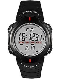 Brand SYNOKE Multifunctional Men Timer Waterproof Swimming Sports Running Digital Watch With Rubber Strap-Black