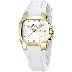 Reloj Mujer Lotus Code L15517/K correa de cuero blanco y caja dorada