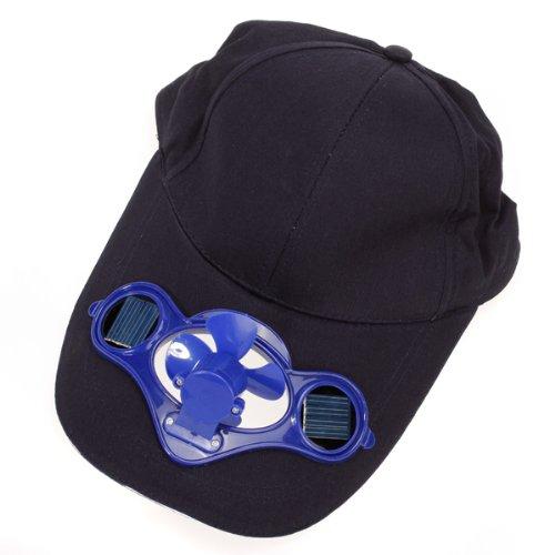 Baseball-Mütze mit solarbetriebenem Mini-Ventilator und Solarzellen auf dem Schirm, umweltfreundliches Camping- und Reisezubehör, Dunkelblau