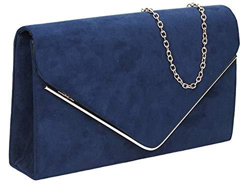 H&G Ladies Faux Suede Clutch Bag Envelope Metallic Frame Plain Design - Navy