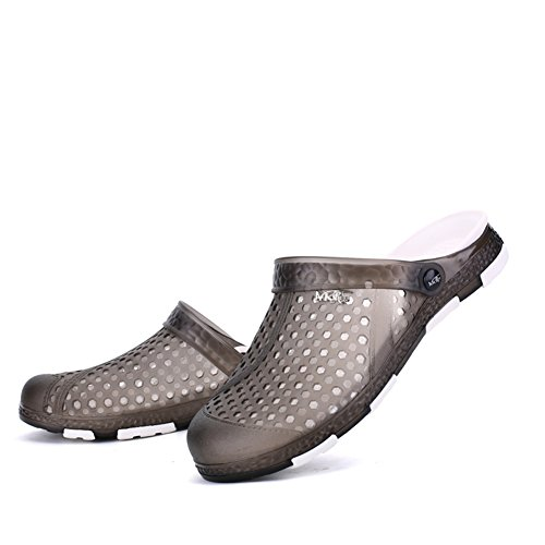 JEDVOO Herren Strand Clogs Sandalen Schuhe Bade Freizeit Schuhe Aqua Slippers Flach Sohle Pantoffeln Hausschuhe Schwarz
