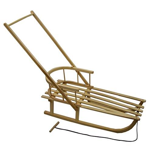 Rawstyle Holzschlitten mit Rückenlehne + Zugleine + SCHIEBESTANGE - Lehne - Kinderschlitten - Schlitten aus Buchenholz mit Metallkufen *Kinderschlitten* NEU