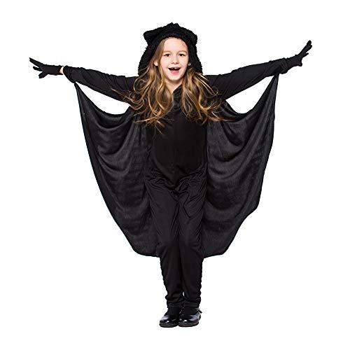 Children's Übergröße Kostüm - Costour Damen Kostüm für Karneval Halloween Fledermaus Hexe Cosplay Set, Black Child, L
