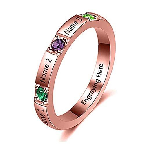 Yanday Ringe mit Namen graviert personalisierte Versprechen Birthstone Ring Custom Jewelry(rosévergoldete Basis 46 (14.6))