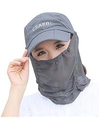 Mujer niña 2en 1gorra visera anti-UV camuflaje plegable sombrero de sol sombrero Legionnaire con máscara extraíble protección solar Rostro Cuello para Bicicleta Camping senderismo trekking pesca, gris, talla única