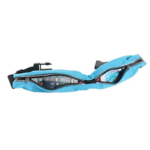 2-TECH XXL Doppelfach Sportgürteltasche mit Reflektionsstreifen Schlüssel und Handy trennen optimale Sichtbarkeit Laufgürtel für Jogging Blau