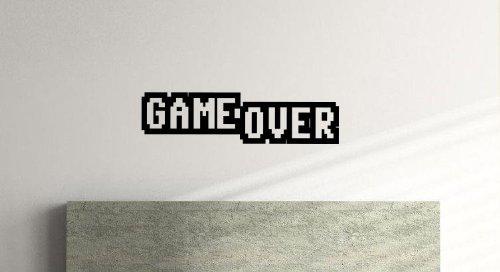Game Over, Schlafzimmer, Lounge, Küche, Spiele, Vinyl Wandtattoo (57cm x 15cm), schwarz