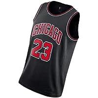 PUS Bulls # 23 Chicago Bulls, Camiseta Deportiva sin Mangas con Bordado clásico para Hombre, Chaleco de Jersey Transpirable de Malla Informal Retro Black-XXL