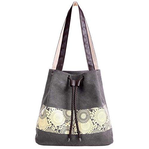 Frauen-Segeltuch-Schulter-Handtaschen Tote Bag Grey