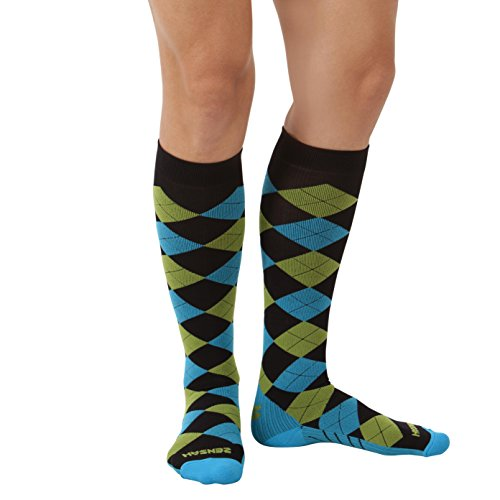 Zensah Kompressionssocken Argyle Kompressions Black/Turquoise/Green Apple S Argyle Apple