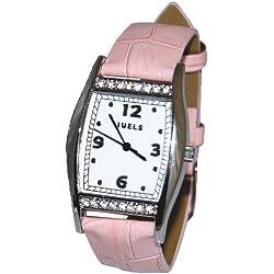 JUELS Ladies wrist watch with Swarovski Crystals and genuine leather pink strap