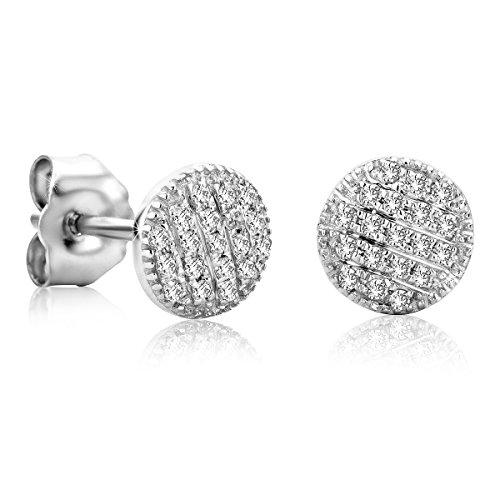 Schmuck Ohrringe Weissgold (Orovi Ohrstecker Ohrringe Set ,Damen Weißgold Ohrstecker mit Diamant 9Karat (375) Brillianten 0.11crt)
