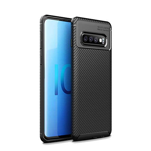 CruzerLite Custodia Galaxy S10, Cover Galaxy S10, Carbon Fiber Texture Design Back Cover Ultra Fit Anti-Scratch Shock Absorption Protective Cover for Samsung Galaxy S10 (Black)