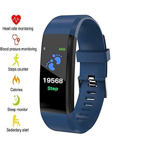 Xtreme Style Fitness Armband mit echtem Pulsmesser, Schrittzähler, Kalorienverbrauch, Schlafmonitor und Blutdruck-Messung. IP67 Fitness-Trackers sind wasserdicht für Damen, Herren und Kinder (blau)