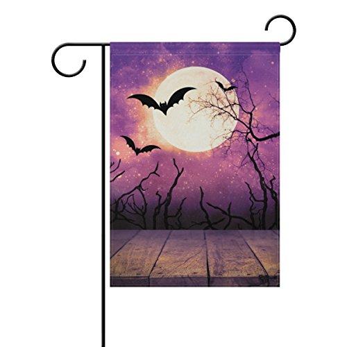 ALAZA Lila Nacht Bat mit Mond Halloween Deko Doppelseitige Garten Flagge