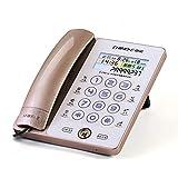 XJRHB Touchscreen-Festnetz-Anrufer-ID Smart-Touchscreen Leuchtknopf Freisprecheinrichtung Home-Office-Schlafzimmer-Rezeption Festnetz (Farbe : Gold)