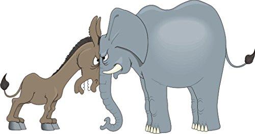 T-Shirt E602 Schönes T-Shirt mit farbigem Brustaufdruck - Logo / Grafik - Comic Design - Elefant vs wütendem Pferd Mehrfarbig