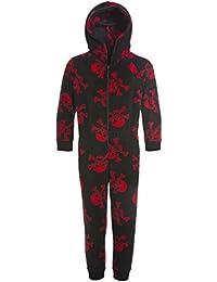 Combinaison Pyjama - Motif têtes de Mort Enfant Noir/Rouge