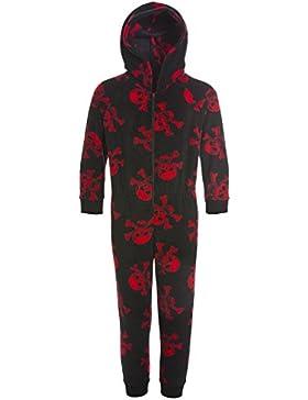Kinder Unisex-Schlafoverall - Schwarz mit rotem Totenkopf-Muster