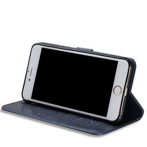 """iPhone 6S plus Wallet Case, Felfy Grün Slim Flip Folio Bookstyle Schutzhülle Case Cover für Apple iPhone 6 / 6S plus 5.5"""" Unique Baum Blatt Magnetverschluss Stil Standfunktion Kartenfach mit Abnehmbar Elefant Blau Marine"""