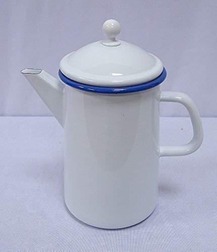 linoows Kaffeekanne, Deckelkanne, Emaille Kanne Weiß mit blauem Rand 1,6 Liter
